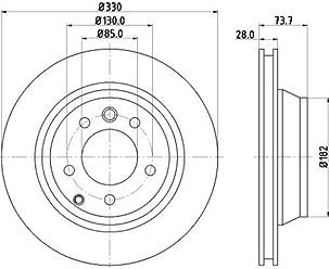 VI Oberfl/äche Chrom- Set aus 2 Bremsscheiben Hinterachse oder Vorderachse -freie Passivierung Bremsscheibe HELLA PAGID 8DZ 355 209-041 Schraube