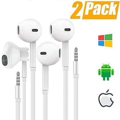 (2Pack)In Ear Kopfhörer für iPhone mit 3,5 mm Kopfhörerstecker Stecker Stereo Noise Isolating mit eingebautem Mikrofon und Lautstärkeregler Kompatibel mit für iPhone, iPad, MP3 /MP4 Android usw-Weiß