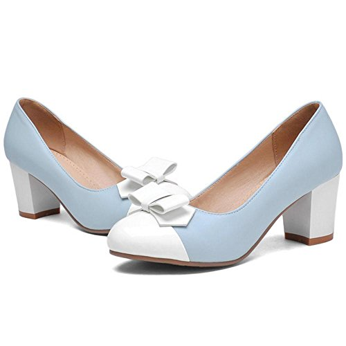 TAOFFEN Women's Fashion Heels Court Shoes Blue KUxw2nx9l