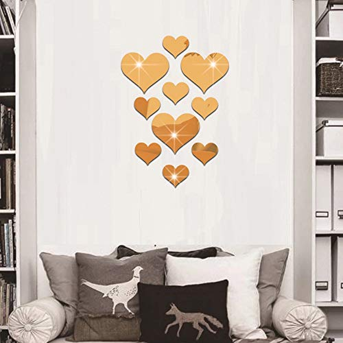 CUGBO 20 Pieces Crystal Love Heart Mirror Wall Stickers, Acrylic 3D DIY Art Wall Decals Home Living Room TV Background Decor, 10Pcs/lot(Gold) ()