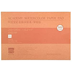 MEEDEN 10X7 Cotton Watercolor Paper Textured Surface Watercolor Pad, Hot Press, 140lb/300gsm, 20 Sheets