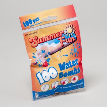 WATER BALLOON 100PC BOMBS W/1 FILLER/48PC PDQ PRINTED PB, Case Pack of 48 by Regent Products(Ilc Division) (Image #1)
