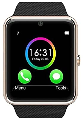 Antimi Sweatproof Smart Watch Phone for Android HTC Sony Samsung LG Google Pixel /Pixel and iPhone 5 5S 6 6 Plus 7 Smartphones Gold