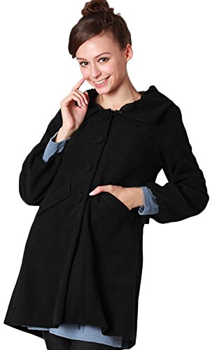 Sweet Mommy Elegant Maternity and Mother's Coat with baby pouch Black, M by Sweet Mommy