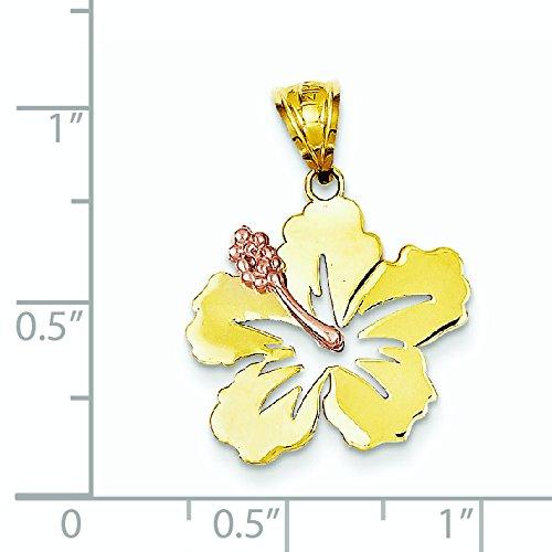 Rose et or jaune 14 Carats Pendentif fleur d'Hibiscus JewelryWeb