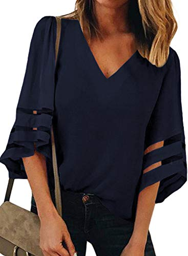 ONLYSHE Blouse for Grils Sexy Henly V Neck Ladies Shirt Oversized Summer Tops Office Outdoor Navy Blue -