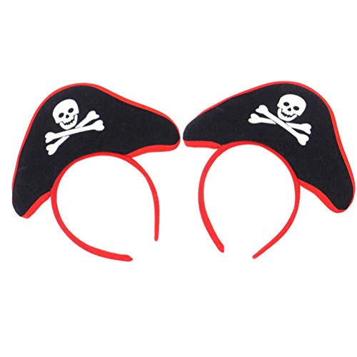 Toyvian Party Headwear Decor Props Headband Cosplay Hair Hoop Fancy Dress Accessory Skull Pirate Hat Hair Hoop Headpiece Halloween Costume for Men Boy 2pcs