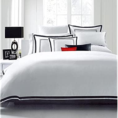 Hotel Luxury 3pc Duvet Cover Set-SALE TODAY ONLY! #1 Rated On Amazon! Elegant White/Black Trim Hotel Quality Design-100% MONEY BACK GUARANTEE! Wrinkle & Fade Resistant Bedding.. King/Cal King