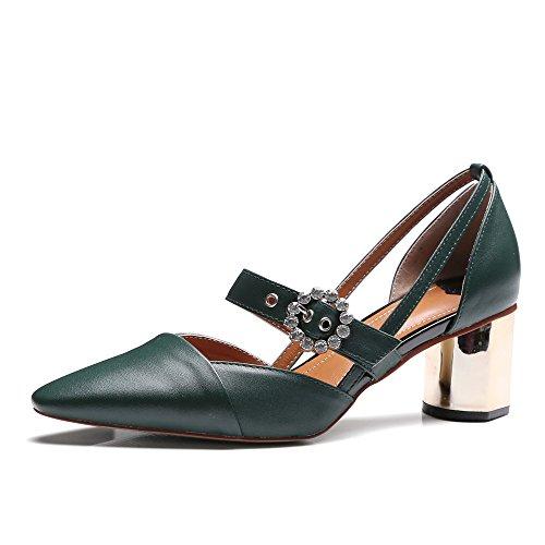 con Shoes verde oscuro Sandalias mujer SevenPump Nine cuña 5tnqR6Uw