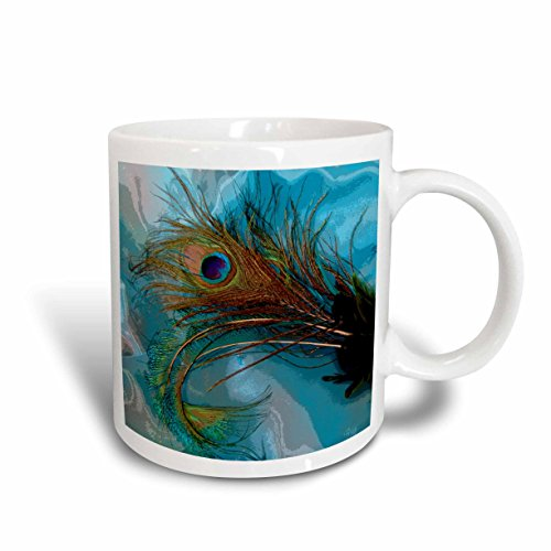 3dRose Abstract Peacock Feather II Ceramic Mug, 11-Ounce (Abstract Peacock)