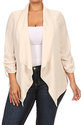 2LUV Plus Women's Open Front Gathered Sleeve Plus Size Blazer – X-Large, Cream