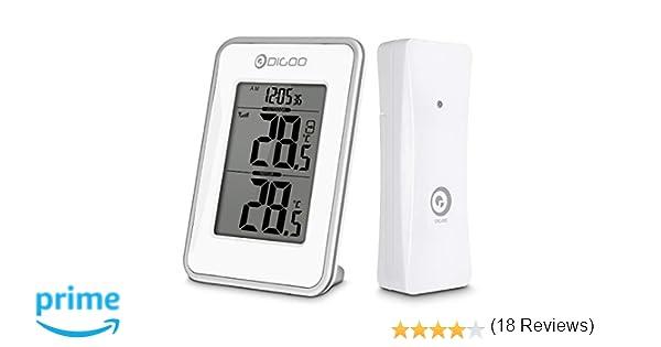 DIGOO Termómetro Digital, Temperatura Máxima Interior y Exterior, Sensor Exterior Inalámbrico, Pantalla de Tiempo de 12/24 Horas, Blanco: Amazon.es: Hogar