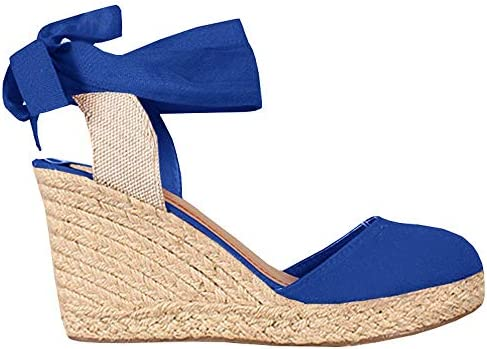 Womens Wedge Espadrille Sandals Closed Toe Platform Lace Up