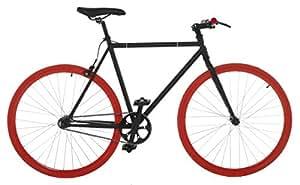 Vilano Fixed Gear Bike Fixie Single Speed Road Bike, Black/Red, 50cm/Small