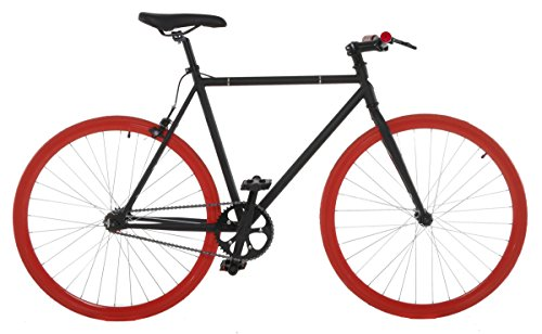Vilano Fixed Gear Bike Fixie Single Speed Road Bike, Black/Red, (Single Speed Flip Flop Hub)