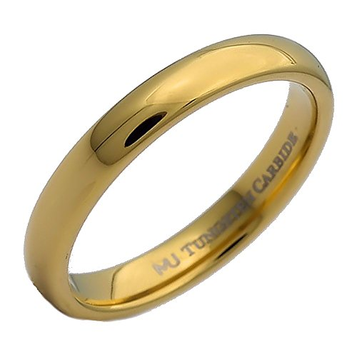 MJ Metals Jewelry 3mm Gold Plated Polished Tungsten Carbide Wedding Ring Classic Half Dome Band Size 8.5 - 3mm Engraved Band
