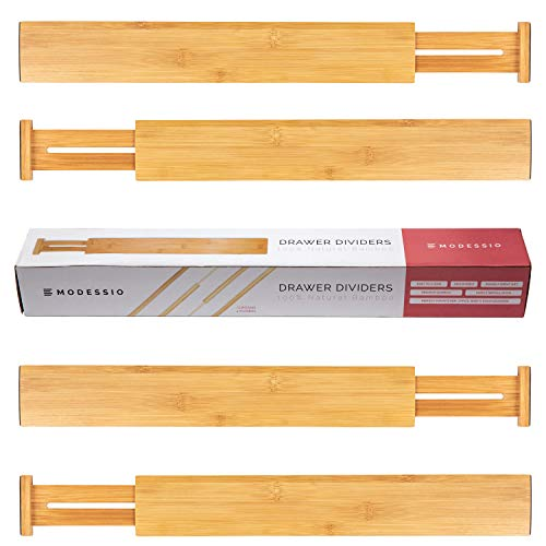Modessio Bamboo Drawer Dividers Kitchen Organizer - Spring Adjustable Kitchen Utensil Drawer Organizer (Set of 4) - Office Drawer & Junk Drawer Organizer