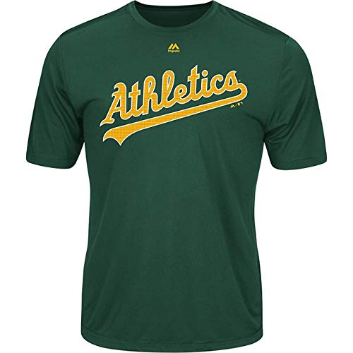 - Majestic Men's Cool Base MLB Evolution Shirt Oakland Athletics Large Green