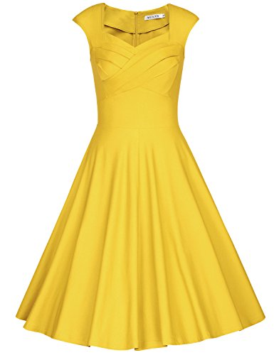 MUXXN Women's 1950s Vintage Retro Capshoulder Party Swing Dress (M, Yellow) -
