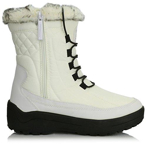 Dailyshoes Dames Enkel Hoog Gesloten Veterschoenen Warm Bont Waterafstotend Eskimo Snowboots Wit