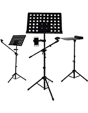 Multifunctional music stand, equipped with mobile phone stand and microphone stand, foldable, freely adjustable height