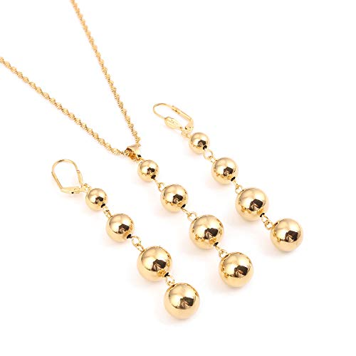 Bead Necklace Earrings for Women Girls Trendy Charm Jewelry Set Ball Necklace Africa Arabia Nigeria Gifts