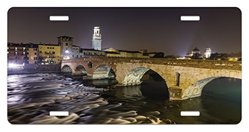 zaeshe3536658 Landscape License Plate, Ponte Pietra on River Adige Ancient Roman Bridge in the Old Town of Verona Italy, High Gloss Aluminum Novelty Plate, 6 X 12 Inches.
