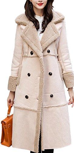 Women's Winter Shearling Coat Faux Long Sheepskin Lamb Turtle Neck Outwear Jacket Apricot,2XL
