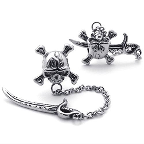 Pirate Earrings For Men (Jonline24h Mens Vintage Stainless Steel Pirate Skull Stud Earrings Set, 2pcs, Color)