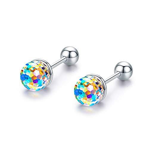 Crystal earrings, Ball Earrings Screw Back Earrings Sterling Silver Colorful Aurora Crystals Stud Earrings Hypoallergenic Earrings Gifts for Women Men Teen ()