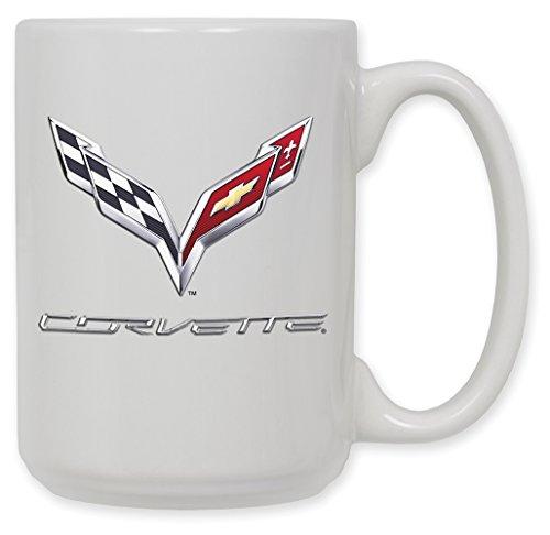 Logo Ceramic - 15 Ounce Ceramic Coffee Mug - Corvette C7 Logo