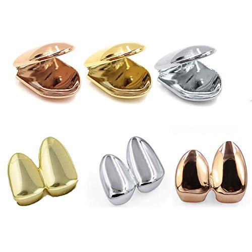 1/2 Pcs Plated Small Single Tooth Cap Grillz Hip Hop Teeth Plain Solid Bling Slugs Gold Silver Rose Gold Excellent Cut for All Types of Teeth