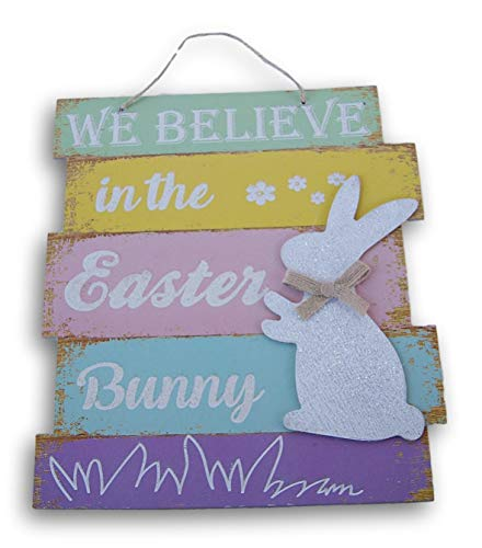 (Easter Glitter Springtime Hanging Decor Sign - ''We Believe in The Easter Bunny'' - 10.5 x 11.5 Inches)