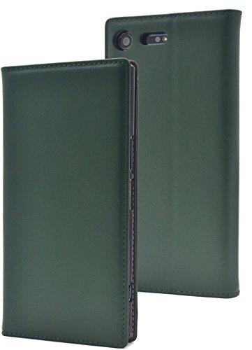 天の精緻化配分PLATA Xperia XZ Premium SO-04J ケース 手帳型 ラム シープスキン 羊革 本革 レザー カバー 【 グリーン 緑 みどり green 】