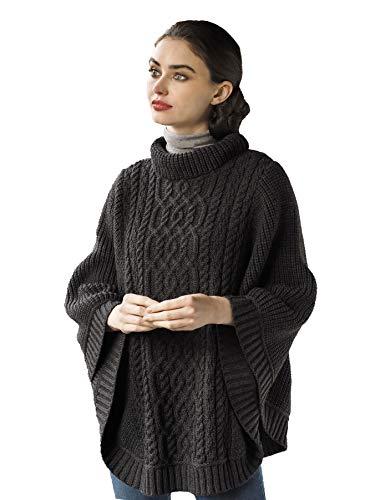 Aran Crafts Ribbed Poncho (100% Merino Wool) M/L Charcoal (R4906-M/L-CHAR)