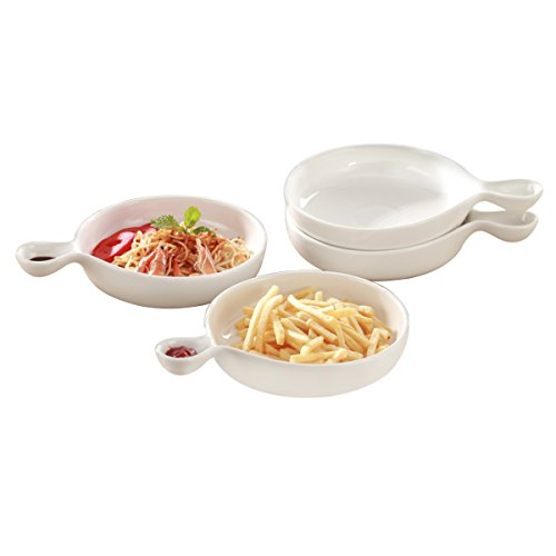 8 Inch Chip Dip Serving Set Round White Porcelain Serving Plate for Pizza,Chips,French Fries or Salad Stackable Set of 3 XUFENG