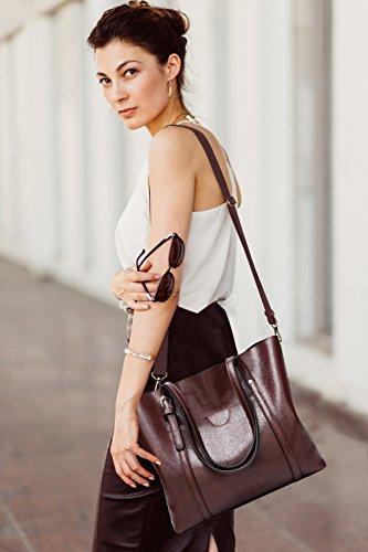 Rosso vintage bag tote Borsa da donna vera modello a in tracolla pelle Ciara qBwS076C