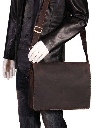 Herren Echtes Leder Messenger Tasche Braun Vintage Distressed Umhängetasche LAS VEGAS 36x27x12 cm
