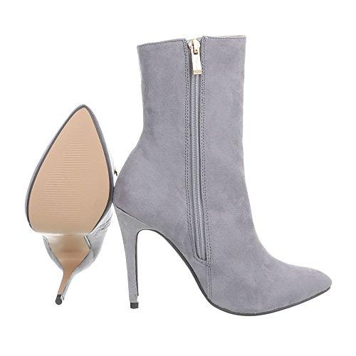 Ital-Design High Heel Stiefeletten Damenschuhe High Heel Stiefeletten Pfennig-/Stilettoabsatz High Heels Reißverschluss Stiefeletten Hellgrau HP-61