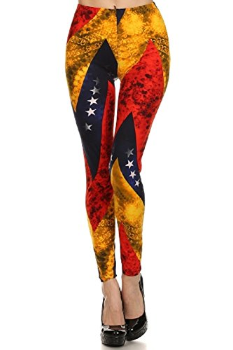 Elegant4U Junior's Golden Flag Printed Fashion Leggings (Tween Leggings)