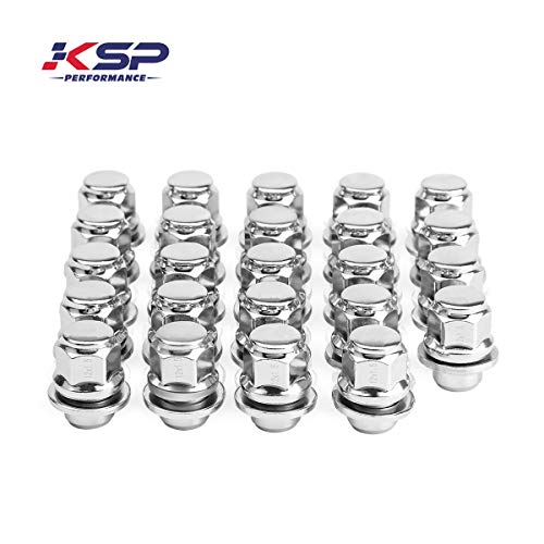- KSP Performance 24PC 12-1.5 Thread Pitch, Hex 13/16'' (21mm) Chrome Mag Style Lug Nuts with Washer Closed End for Factory Aluminum Wheels