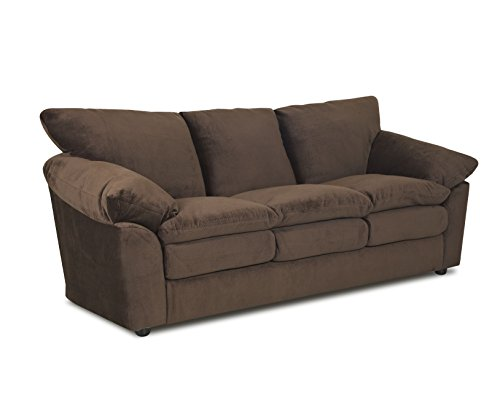 Microfiber Classic Sofa Couch (Klaussner Heights Sofa, Brown)