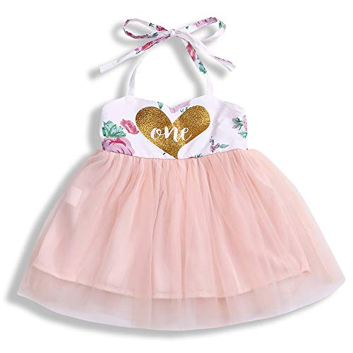 Baby Girl Summer Outfits 1st Birthday Romper Top Sleeveless Floral Tutu Skirt 2Pcs Clothing Set (One, 9-12 Months)]()