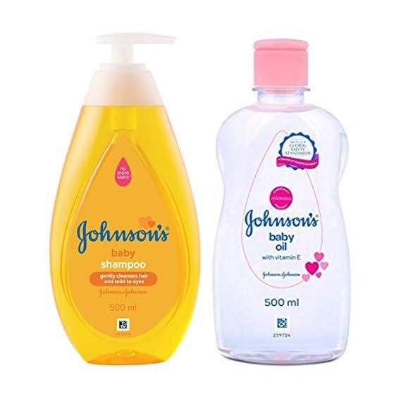 Johnson's Baby No More Tears Baby Shampoo 500ml & Baby Oil with Vitamin E (500ml) Combo