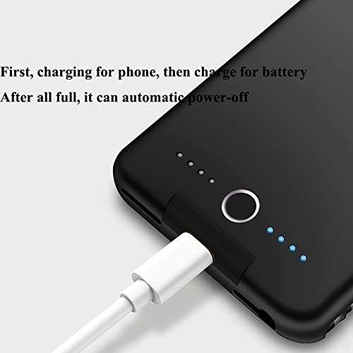BioRing Battery Case for iPhone 8 6 // Plus with 5000 mAh Extended Battery Pack Light Weight Charge Case Black, iPhone 6 7 8//4.7 6S 7