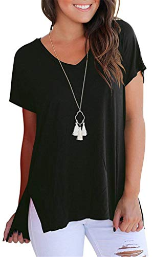 (onlypuff Baggy Shirts for Women Black Side Split Casual Tunic Tops L)