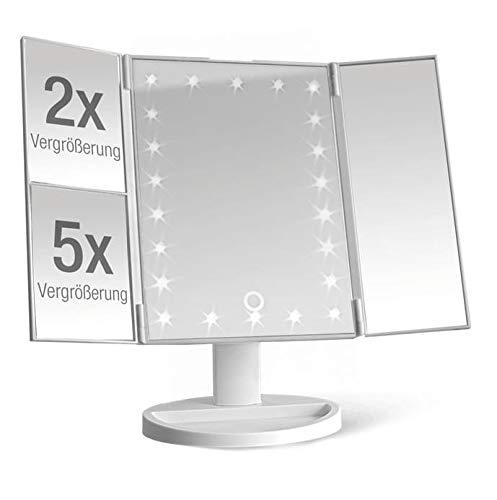 Espejo cosmetico iluminado con 22 LED – Mesa espejo plegable con 2 y 5 aumentos – Espejo de maquillaje giratorio 180° – Funciona con pilas o cable USB