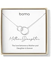 Boma Jewelry Sentiments Collection Mother & Daughter Sterling Silver Two Interlocking Circles Necklace, 18 Inches
