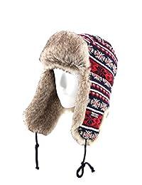 FUR WINTER Wool Blend Cable Knit Faux Fur Aviator Bomber Trapper Trooper Hat