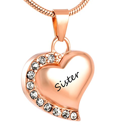 Crystal Heart Keepsake - Crystal Edge Heart Stainless Steel Cremation Pendant Necklace Funeral Ashes Keepsake Urn Necklace (Rose Gold -Sister)
